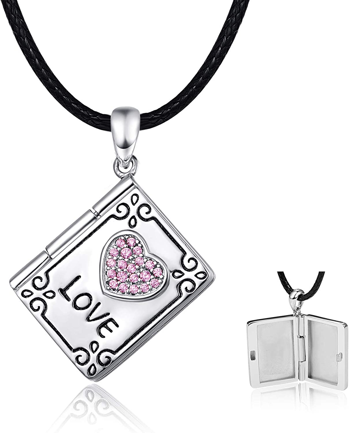 925 Sterling Silver Locket Necklace Luxury goods Shaped for Women Dairy Colorado Springs Mall Photo
