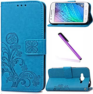 Samsung J1 Ace Case LEECOCO Embossed Lucky Clover Floral with Card Cash Slots Wrist Strap Magnetic Folio Flip Kickstand PU Leather Wallet Slim Case Cover for Samsung Galaxy J1 Ace Clover Blue