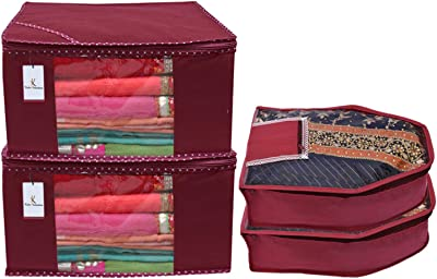 Kuber Industries Non Woven 2 Pieces Saree Cover/Cloth Wardrobe Organizer and 2 Pieces Blouse Cover Combo Set (Maroon)-CTKTC045340
