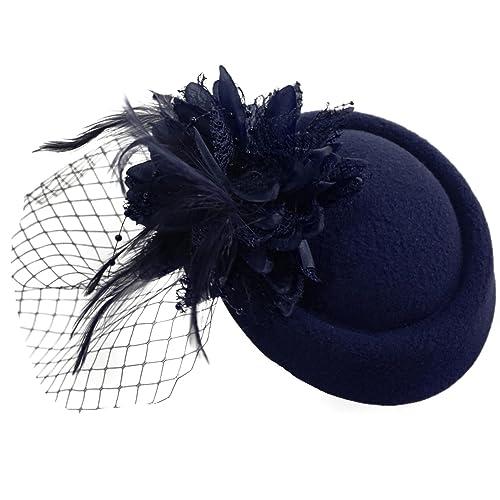 Pillbox Fascinator Hat for Women Weddings Bird Cage Veil Clip f489e6bebb87