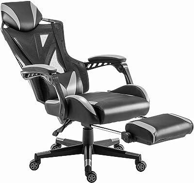 ゲーミングチェア 椅子 テレワーク ワークチェア パソコンチェア 学習椅子 げーみんくチェア ゲーミングちぇあ gaming chair ハイバック ヘッドレスト 組立簡単 腰痛対策 通気性抜群 疲れにくい コスパ良い 高反発ウレタン座面 人間工学 背面連動式アームレスト オットマン付き 静音キャスター (Gray)