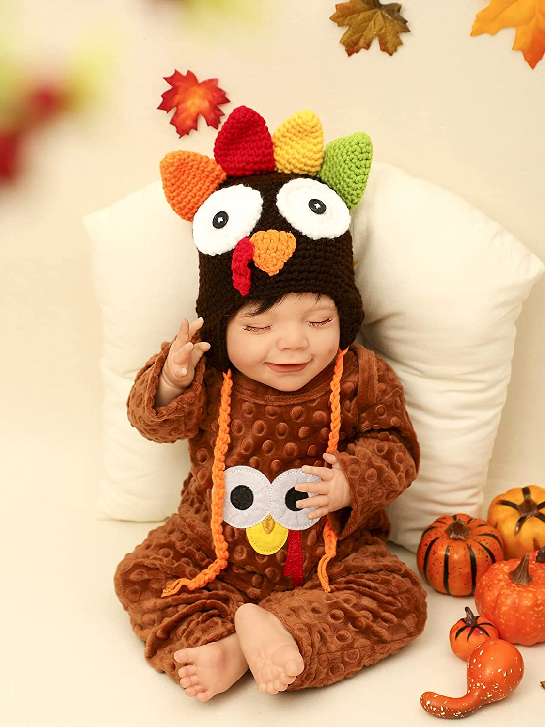 Baby Boy Thanksgiving Clothes First Turkey 2PCS Outfit Set ( Overalls Romper + Hat ) 0-12 Months