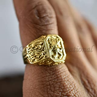 Lion yellow gold big signet ring, Beast king ring, Lion mens ring, Large gold signet ring, Lion ring, Signet ring man, Unique mens gift Ring