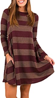 SUNGLORY Women's Casual Loose Long Sleeve Striped/Plaid Tunic Dress Pockets
