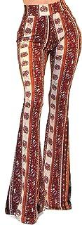 سروال نسائي من Vivicastle مطبوع عليه Boho Solid Hippie بأرجل واسعة واسعة واسعة واسعة