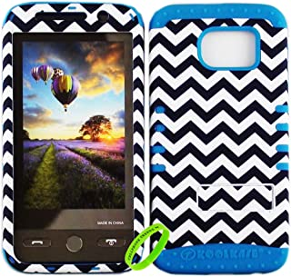 Cellphone Trendz Dual Layer Soft Hard Hybrid High Impact Protective Case Cover for Samsung Galaxy S6 G920 - Black And White Chevron Design Hard Case on Blue Skin