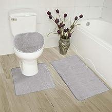 3pc Bath Rug Set for Bathroom Non Slip Bath Mat, Contour Mat & Toilet Lid Cover Solid New (Silver)
