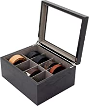 Tech Swiss Belt Box Valet Organizer 8 XL Compartments Black Glass Top - Wood
