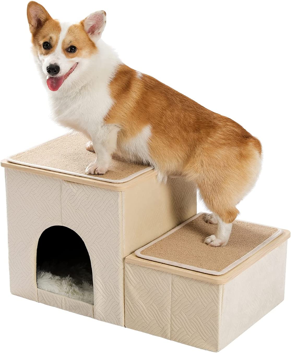 PETEPELA Max 52% OFF Dog Stair Steps with 2-Step to Box Couch Storage Now on sale