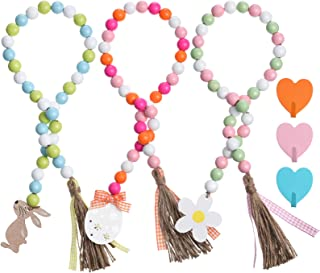 Spring Farmhouse Rustic Bead with Bunny Egg Bloom Flower Shaped Wooden Tag Plaid Rustic Tassel Tray Decor for Easter Home Wall Decor Ornaments 3 Sets Easter Wood Bead Garland with Heart Shape Hooks