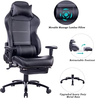 HEALGEN Massage Gaming Chair Office Chair with Heavy Duty Metal Base,Reclining High Back PU Leather PC Computer Racing Desk Chair with Footrest and Lumbar Support (8263 Black)