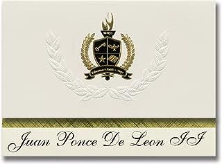 Signature Announcements Juan Ponce De Leon II (Florida, PR) Graduation Announcements, Presidential style, Basic package of 25 with Gold & Black Metallic Foil seal