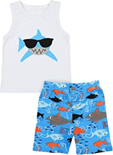 Baby Boy Clothes Birthday Shark Doo Doo Doo Print Summer Cotton Sleeveless Outfits Set Tops + Short Pants