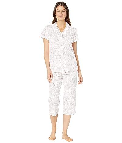 Eileen West Cotton Jersey Knit Short Sleeve Notch Collar Capris Pajama Set (White Ground/Multi Floral) Women