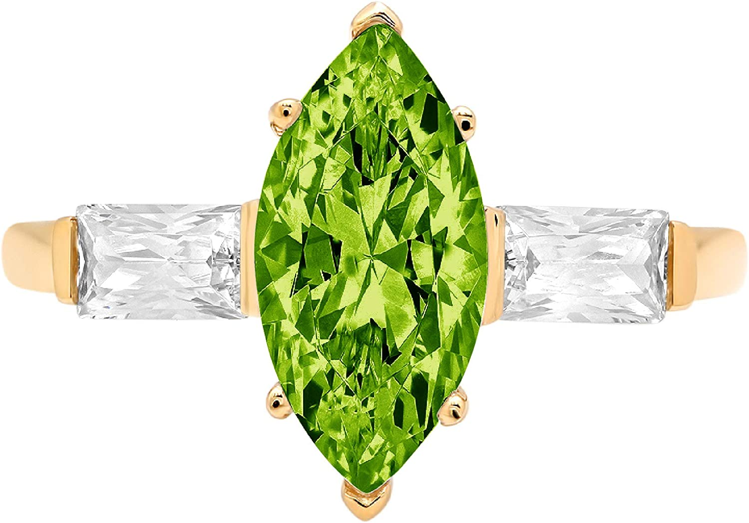 2 ct Marquise Baguette cut 3 stone Solitaire with Accent Designer Genuine Natural Green Peridot Gemstone Ideal VVS1 Engagement Promise Statement Anniversary Bridal Wedding Ring 14k Yellow Gold