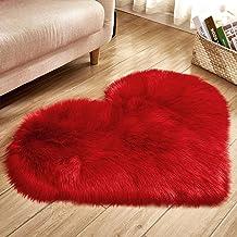 Heart-Shaped Carpet Bedroom Imitation Wool Non-Slip Warm Rugs Living Room Sofa Coffee Table Balcony Bay Window Cushion,10,...