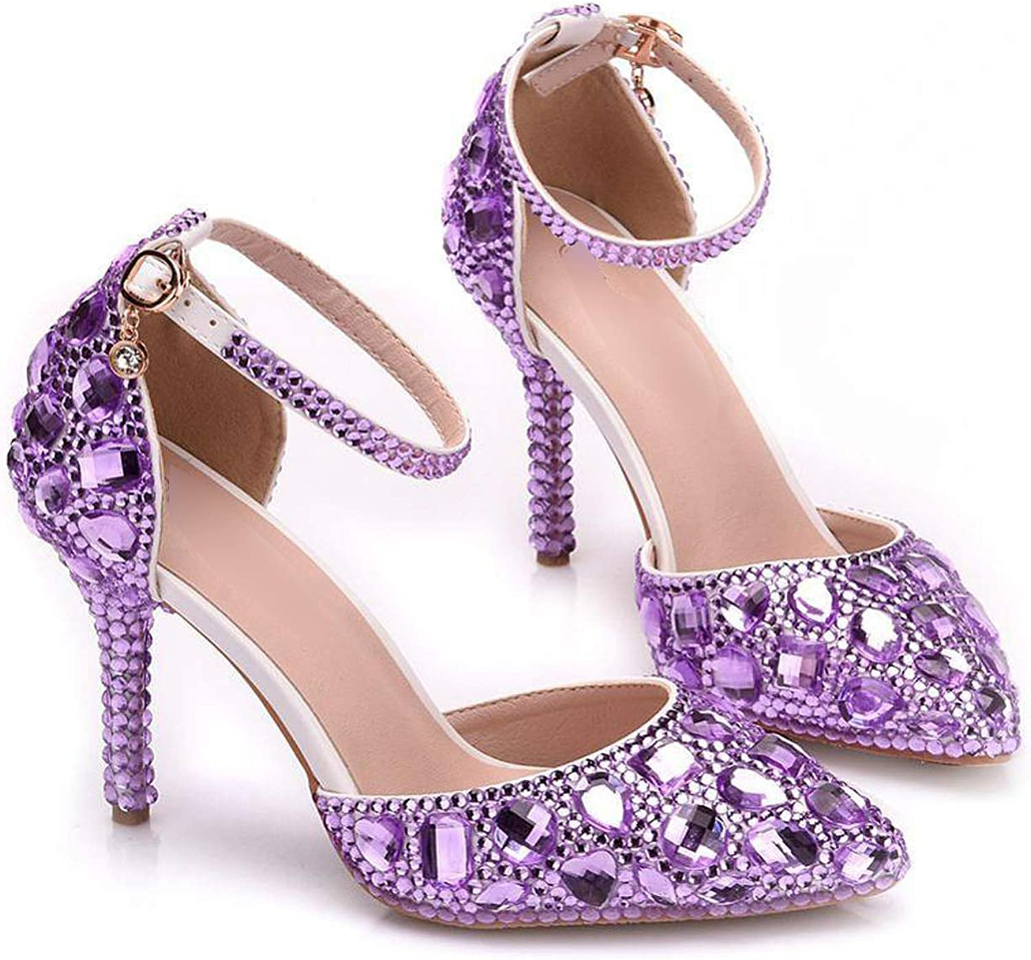 Sunny Doll shoes 2019 Women High Heels Pumps Full Crystal Party Wedding shoes Sexy Heels Buckle Ladies shoes