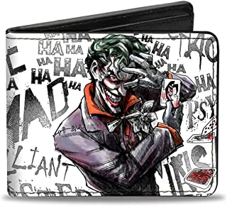 Buckle-Down Men's Wallet Joker Brilliant-Twisted-Insane-mad Psycho Pose/Cards Accessory, -Multi, One Size
