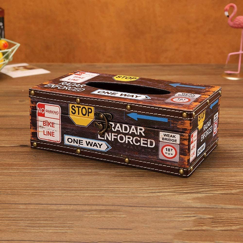 AERVEAL Paper Holder Distressed Wooden Year-end annual account Rectangle Cove Tissue Box Beauty products