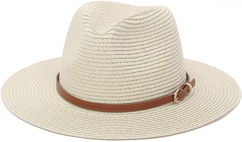 GEMVIE Straw Sun Hats for Women Wide Brim Panama Sun Hat UPF50 Fedora Beach Hat