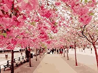 Paint by Numbers for Adults Canvas DIY Oil Painting, Paint by Number Kits 16x20 inch Cherry Blossom Festival (Wooden Framed)