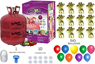 Helium Tank with 50 Balloons and White Ribbon + 12 Gold Balloon Weights + 10 Flower Clips - Plus Balloon Tying Tool