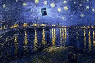 Starry Night Over The Rhone Van Gogh Art Flying Police Box Parody Humor Cool Wall Decor Art Print Poster 36x24