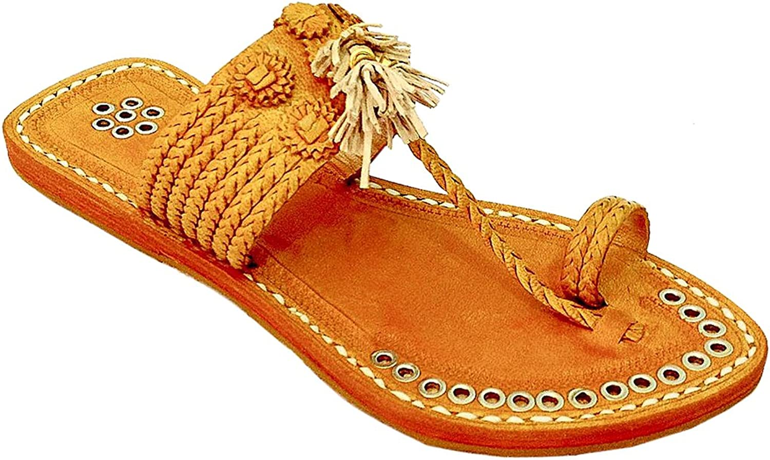 Original kolhapuri chappal Magnificent designer's dark yellow seven braid silver rivets kolhapuri women chappal slipper sandal