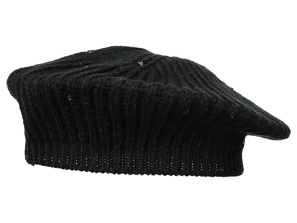 Women's Vintage Hats | Old Fashioned Hats | Retro Hats LAUREN Ralph Lauren Crystal Rib Beret Black Berets $40.00 AT vintagedancer.com