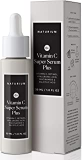 Naturium Vitamin C Super Serum Plus Multi-Benefit Serum for Face, Anti-Aging, Brighter Skin, Even Skin Tone with Vitamin C, Retinol, Hyaluronic Acid, Niacinamide & Salicylic Acid