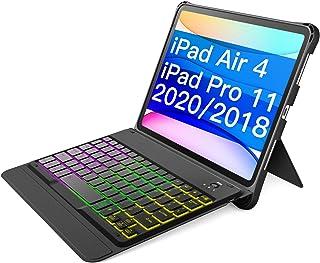 Inateckキーボードケース、iPad Air 4 2020/iPad Pro 11インチ2020/2018(第1世代/第2世代)に適用、バックライト付き、KB02005ダークグレー