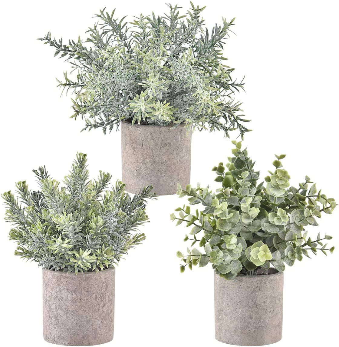 Artflower Set of 3 Artificial Potted Plants Fake Potted Eucalyptus Rosemary Plastic Decoration for Table Centerpiece Office Kitchen Shower Room