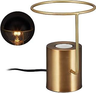 Relaxdays Lámpara de mesa, Diseño moderno, Industrial, Redonda, E27, 19 cm, Decorativa, Dorada