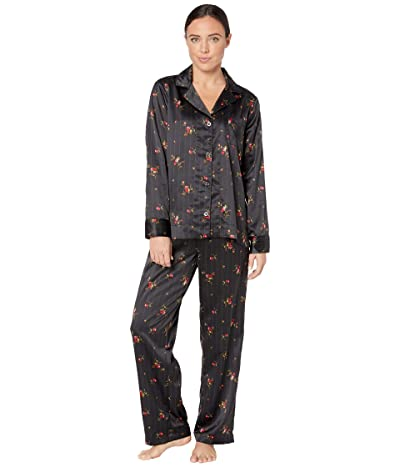 LAUREN Ralph Lauren Satin Long Sleeve Notch Collar Long Pants Pajama Set (Black Print) Women