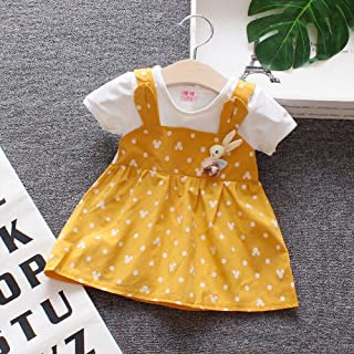 DSstyles Toddler Girls  Two-Piece Dress Short Sleeves Suspender Skirt with Dots Decorated Yellow 80cm