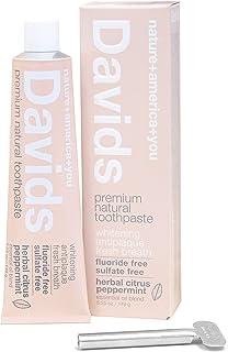 Davids Natural Toothpaste, Herbal Citrus Peppermint, Whitening, Antiplaque, Fluoride Free, SLS Free, 5.25 OZ Metal Tube, T...