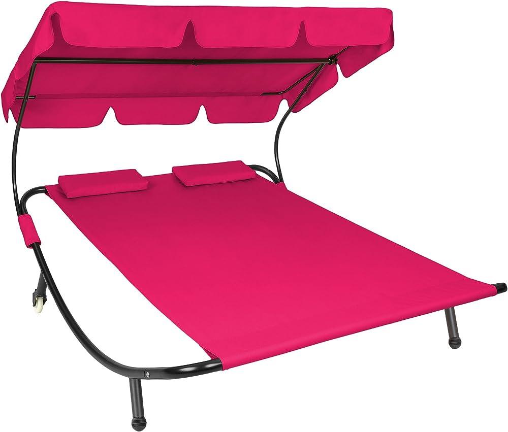 Tectake lettino prendisole da giardino per 2 persone con 2 cuscini struttura in metallo robusto e tela 800089