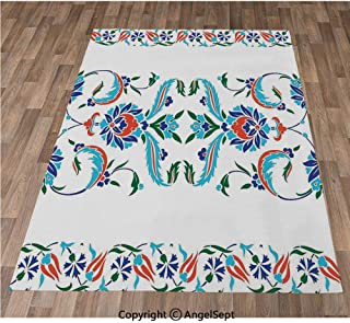 Non-Slip Super Soft Rugs Cozy Kids Bedroom Living Room Carpet 24x36in,Old Turkish Ceramic Mosque with Tulips Vintage Ottoman Heritage Image,Blue Red Indoor/Outdoor Area Runners & Stair Rug Carpet