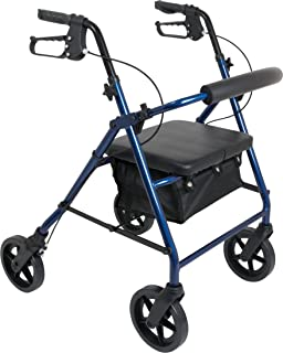 ProBasics 4 Wheel Medical Rolling Walker with Wheels, Seat, Backrest and Storage Pouch - Rollator Walker for Seniors- Durable Aluminum Frame Supports up to 300 lbs, 8-inch Wheels, Blue