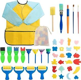 Surplex 42 Pièces Enfants Peinture éponge Lot de pinceaux, Brosses de Peinture Enfant pour Enfants Maternelle Artisanat Ar...