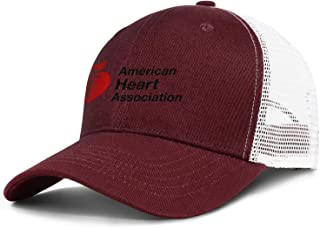 ZJING National Wear Red Day American Heart Association Printed Classic Mesh Ball Cap Adjustable Sun Hat Unisex