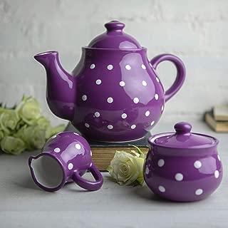 City to Cottage Handmade Purple and White Polka Dot Large Ceramic 1,7l/60oz/4-6 Cup Teapot, Milk Jug, Sugar Bowl Set, Pottery Tea Set, Housewarming Gift for Tea Lovers