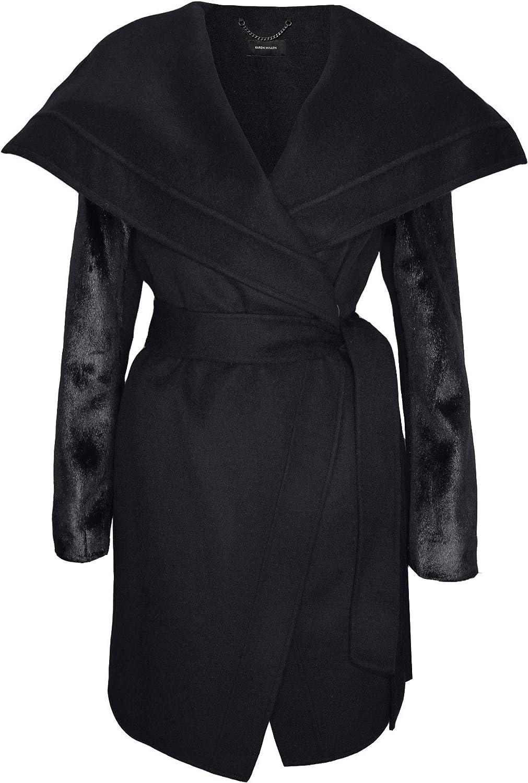 Karen Millen Women's Black Wrap Coat Faux Fur Sleeves