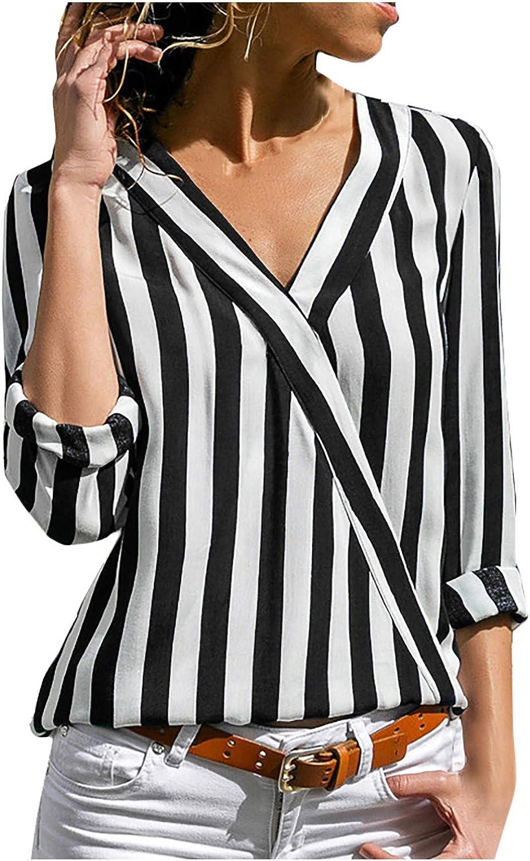 Shirt Rovinci Frauen Mode Lockerem Bluse Fr/ühling und Sommer L/ässiges V-Ausschnitt Pullover mit Gestreifter Chiffon DREI Viertelarm Hemd Casual Basic Atmungsaktive k/ühles L/ässiges t-Shirt