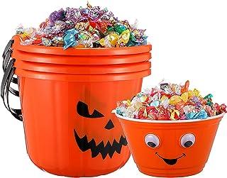 STOBOK Lot de 6 seaux de citrouille d'Halloween pour Halloween ou pour traiter, citrouille ou bonbons avec poignée