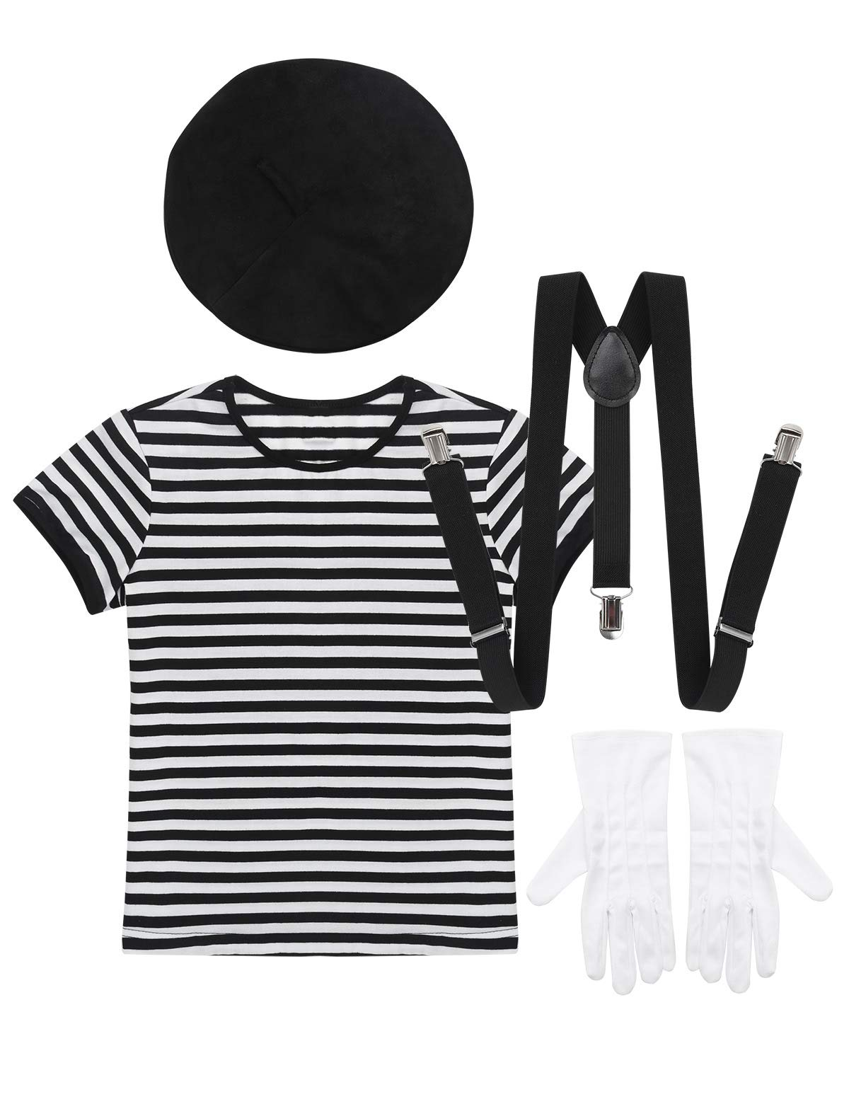 CHICTRY Kids Boys Girls Mime Artist Costume Novelty French Style 4 PCS Beret Hat Clothes Set Halloween Cosplay Party Outfit