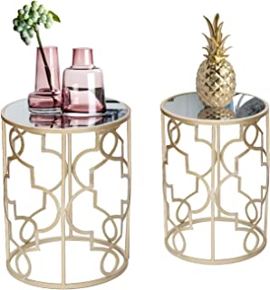 Homebeez End Tables Set of 2, Gold Nesting Side Coffee...