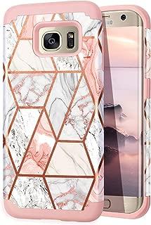 Fingic Galaxy S6 Edge case, Samsung S6 Edge case, Rose Gold Marble Design Shiny Glitter Bumper Hybrid Hard PC Soft Rubber Anti-Scratch Shockproof Protective Case Cover for Samsung Galaxy S6 Edge 2015
