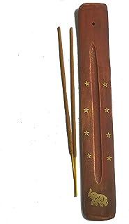 Chill French Porte Encens Traditionnel d'Inde en Bois de manguier pour bâton d'encens 25cm – Incrustations dorées en Laito...