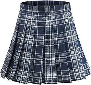 Women's A-Line High Waist Plaid Pleated Mini Skirt School Girl Skirt